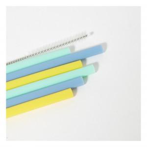 """Pailles enfant en silicone """"Camaïeu Bleu"""" (x6) KG Design"""