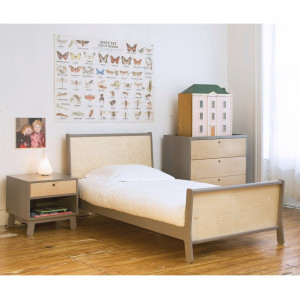 "Lit junior 90*200 en bois Sparrow ""Gris"" Oeuf NYC"