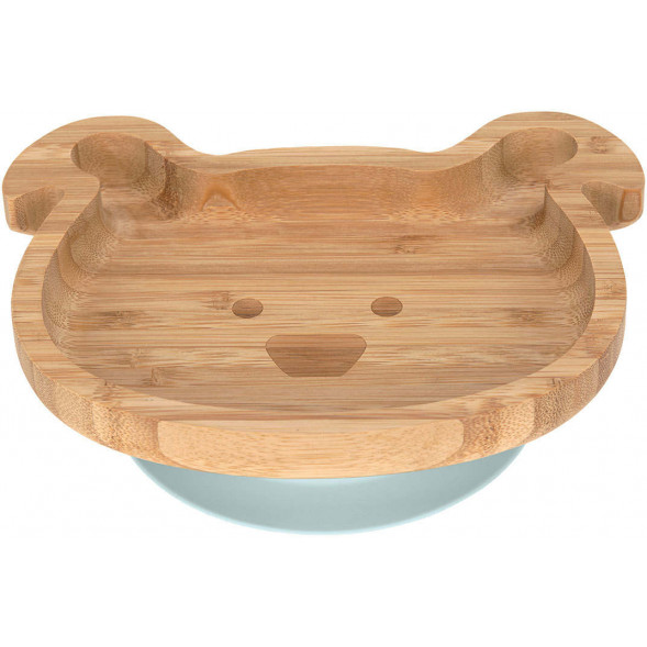 """Assiette avec ventouse en bois de bambou """"Little Chums Chien"""""""