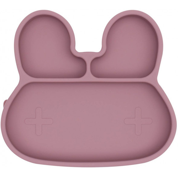 "Assiette compartiments à ventouse en silicone ""Lapin Rose"""