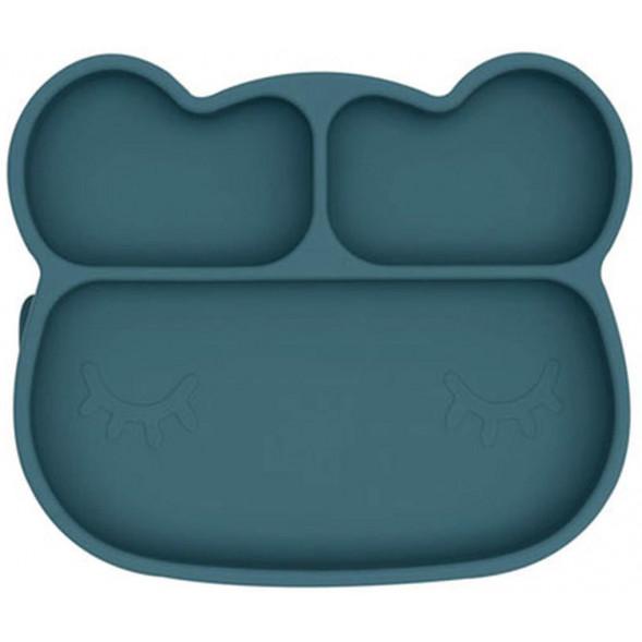 """Assiette compartiments à ventouse en silicone """"Ours Bleu"""""""