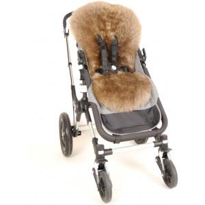 """Assise en peau d'agneau Haute Laine pour poussette Bugaboo """"Cappucino"""" Kaiser"""