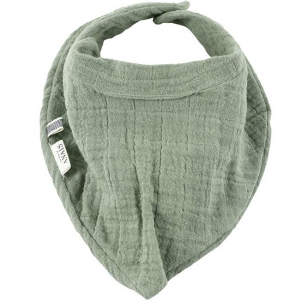 """Bavoir bandana en mousseline de coton bio et éponge """"Bliss Olive"""""""