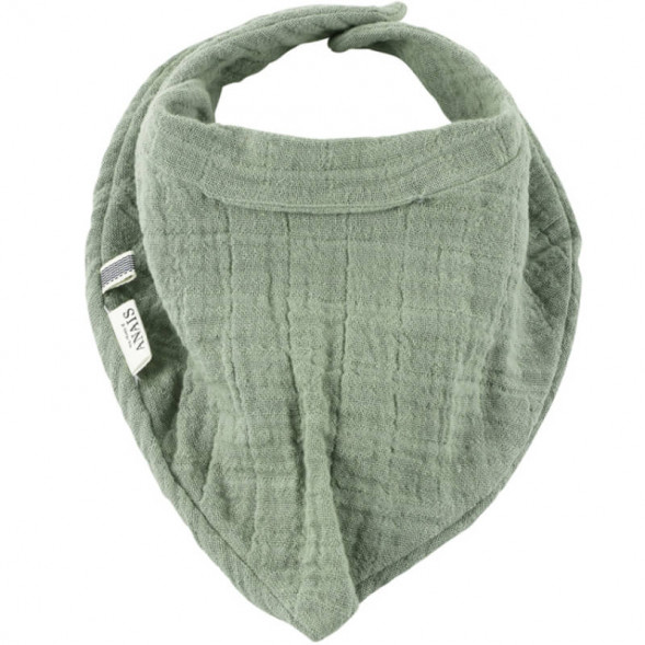 """Bavoir bandana en coton et éponge """"Bliss Olive"""""""