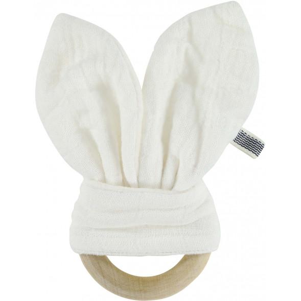 """Anneau de dentition en coton et bois Lapin """"Bliss Blanc"""""""