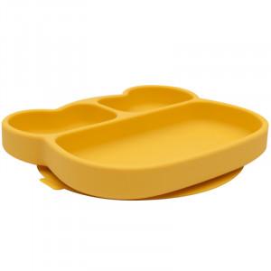 """Assiette à compartiments avec ventouse en silicone """"Ours Jaune"""" We might be tiny"""
