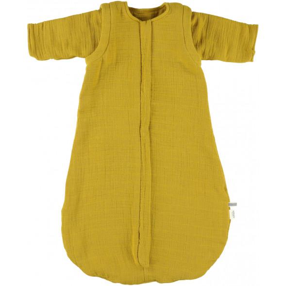"""Turbulette Hiver (6-12 mois) à manches longues en polaire et coton bio """"Bliss Moutarde"""""""