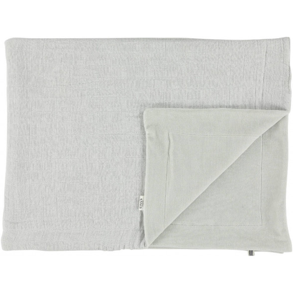 """Couverture hiver en coton bio et velours """"Bliss Gris"""" (150 x 100 cm)"""