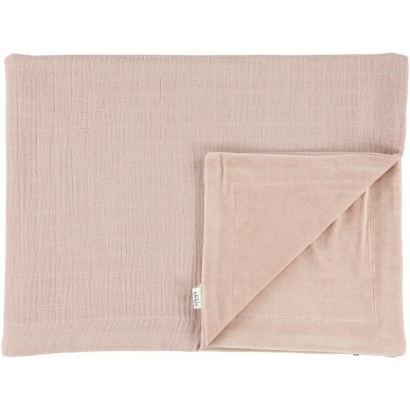 """Couverture hiver en coton bio et velours """"Bliss Rose"""" (150 x 100 cm)"""