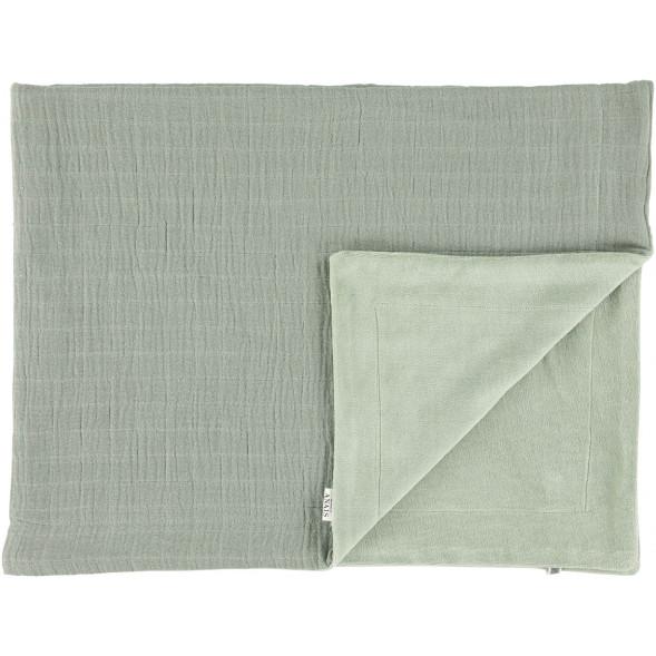 """Couverture bébé hiver polaire en coton bio et velours """"Bliss Olive"""" (75 x 100 cm)"""