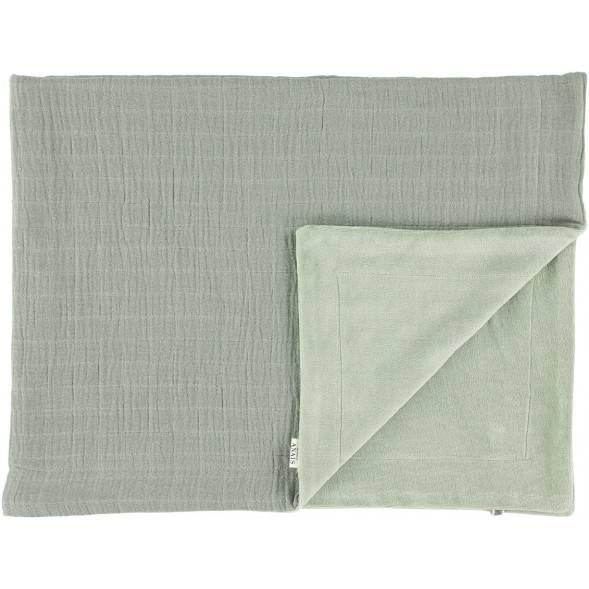 """Couverture hiver en coton bio et velours """"Bliss Olive"""" (100 x 150 cm)"""