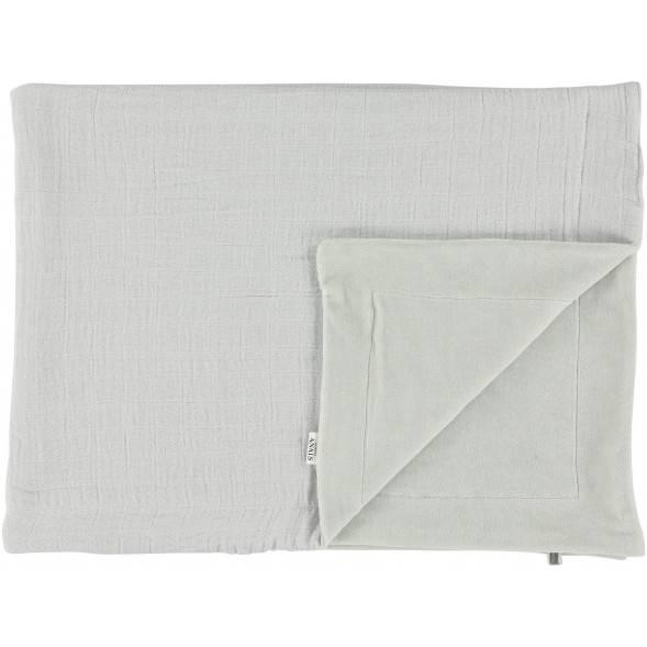 """Couverture bébé hiver polaire en coton bio et velours """"Bliss Gris"""" (75 x 100 cm)"""