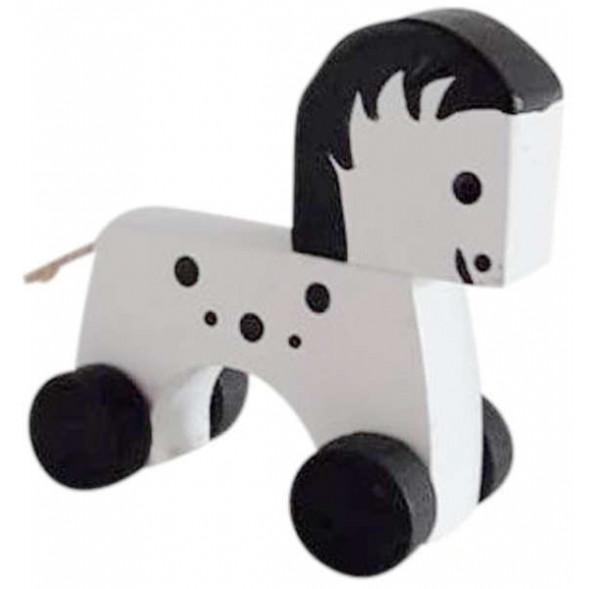 """Cheval à roulettes en bois """"Blanc"""""""