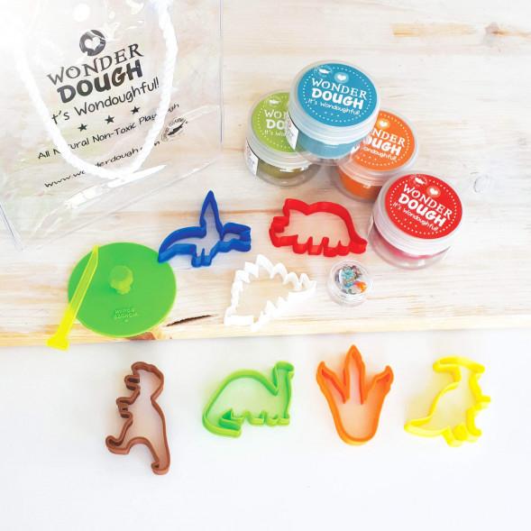 "Kit de pâte à modeler 100% naturelle ""Dinosaures"" (mini)"
