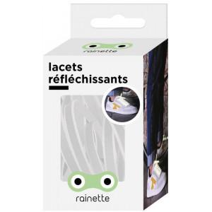 """Lacets réflechissants """"Blanc"""" Rainette"""