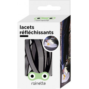 """Lacets réflechissants """"Noir"""" Rainette"""