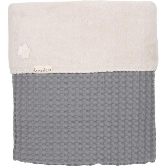 """Couverture de lit bébé en coton et polaire Oslo (100x150 cm) """"Gris foncé"""""""
