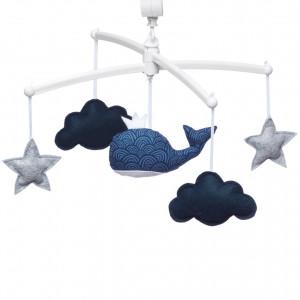 """Mobile bébé musical pour lit Baleine """"Vague"""" en coton bio - Pouce et Lina"""