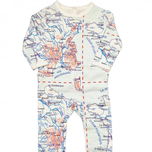 """Pyjama bébé avec pieds en jersey de coton bio """"Carte d'écolier"""""""