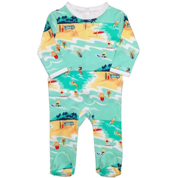 """Pyjama bébé avec pieds en jersey de coton bio """"Surfeur"""""""