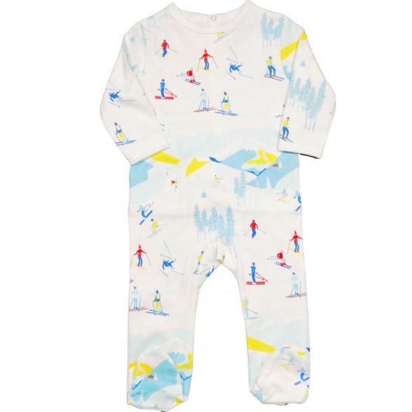 "Pyjama bébé avec pieds en jersey de coton bio ""Ski"""