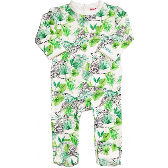 "Pyjama bébé avec pieds en jersey de coton bio ""Tigre"""