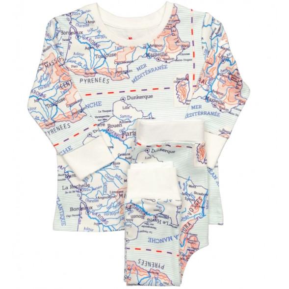 """Pyjama 2 pièces en jersey de coton bio """"Carte d'écolier"""""""