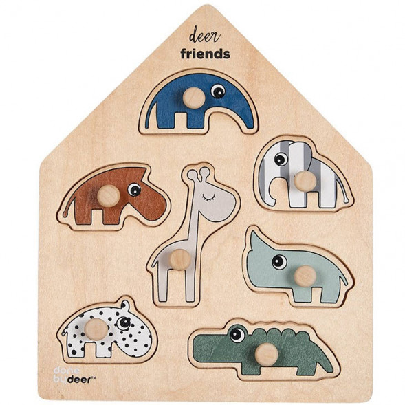 "Puzzle enfant en bois à encastrer ""Deer friends"" Done by Deer"