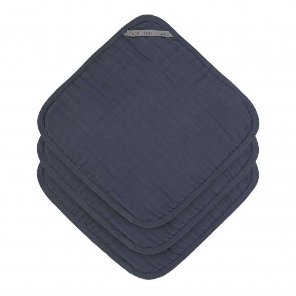 """Débarbouillettes en mousseline de coton """"Bleu Marine"""" (x3)"""