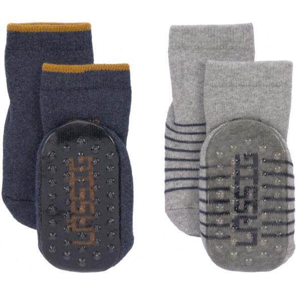 """Chaussettes bébé anti-dérapantes (6-18 mois) en coton bio """"Bleu"""" (x2)"""