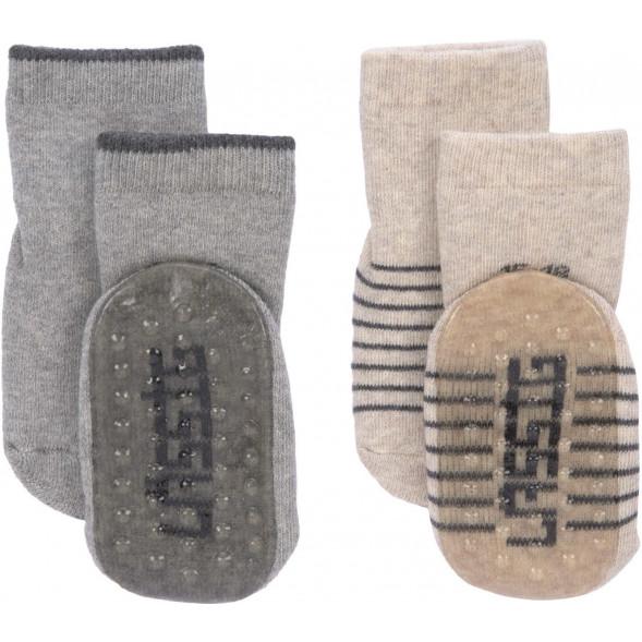 """Chaussettes bébé anti-dérapantes (12-24 mois) en coton bio """"Gris"""" (x2)"""