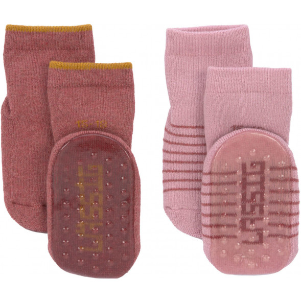 """Chaussettes bébé anti-dérapantes (12-24 mois) en coton bio """"Rose"""" (x2)"""