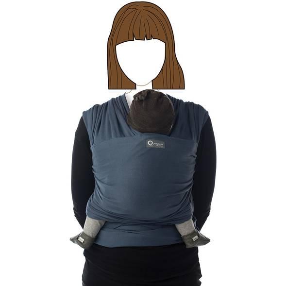 """Echarpe de portage """"tricot slen"""" ORGANIC - bleu jean - Babylonia"""