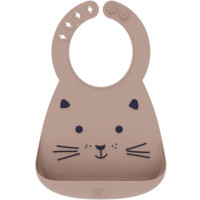 "Bavoir bébé en silicone à poche ""Chat"" Make my Day"