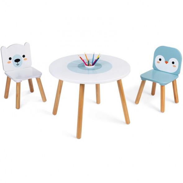 """Table et 2 chaises enfant en bois """"Banquise"""" (3-6 ans)"""