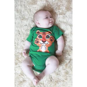 "Body bébé  en coton bio ""Mibo Tigre Vert"" Coq en Pâte"