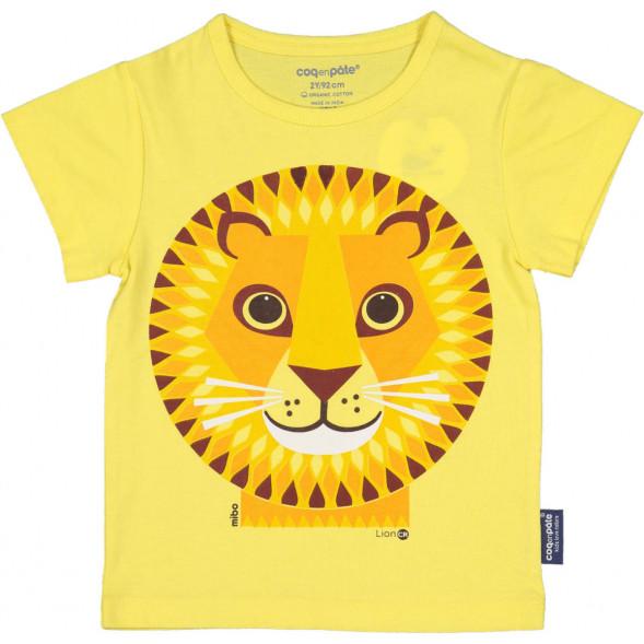 """T-shirt manches courtes en coton bio """"Mibo Lion Jaune"""""""