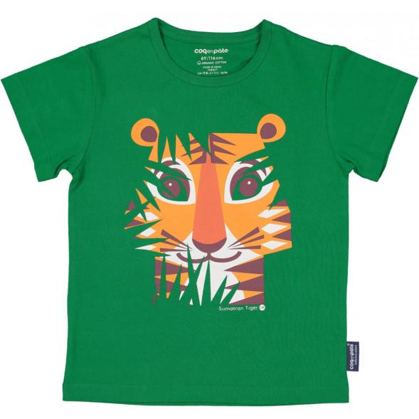 """T-shirt manches courtes en coton bio """"Mibo Tigre Vert"""""""
