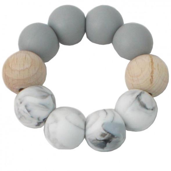 """Anneau de dentition en perles de bois et silicone """"Gris / Marbre"""""""