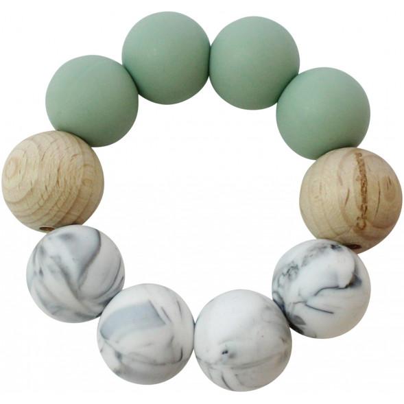 """Anneau de dentition en perles de bois et silicone """"Sauge/ Marbre"""""""
