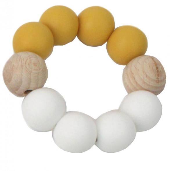 """Anneau de dentition en perles de bois et silicone """"Ocre / Blanc"""""""