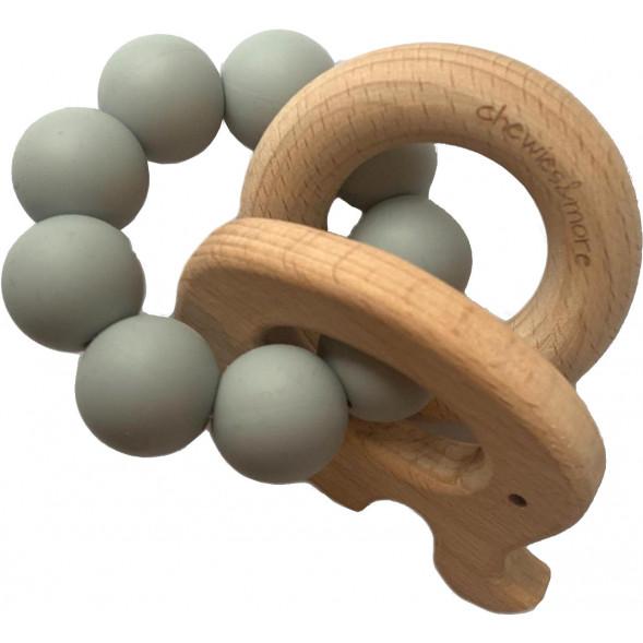 """Hochet de dentition en bois et perles de silicone Elephant """"Gris Clair"""""""