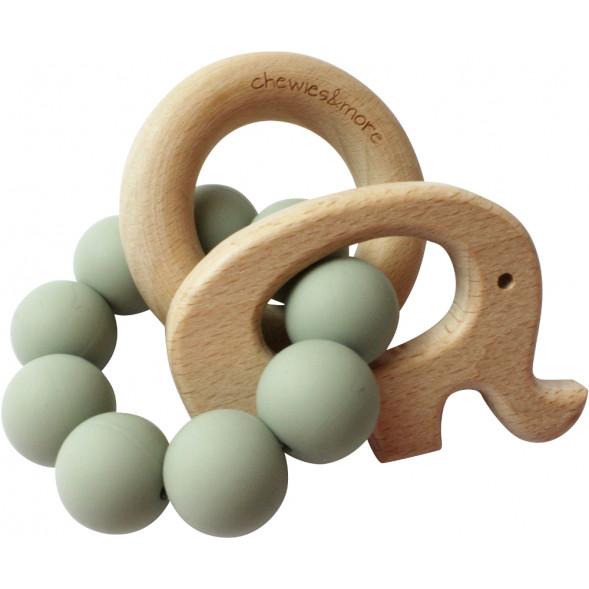 """Hochet de dentition en bois et perles de silicone Elephant """"Sauge"""""""