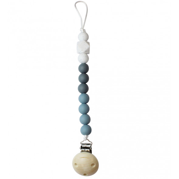"Attache tétine en bois et perles de silicone ""Dusty Blue"""