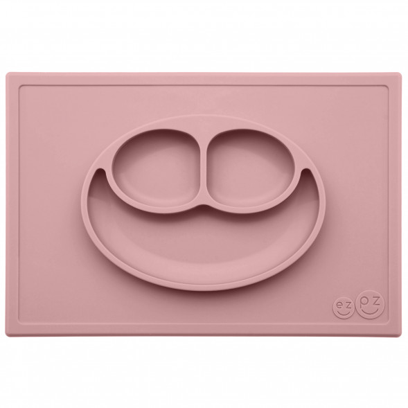 "Assiette à compartiments anti-dérapante en silicone Happy Mat ""Rose Poudré"""