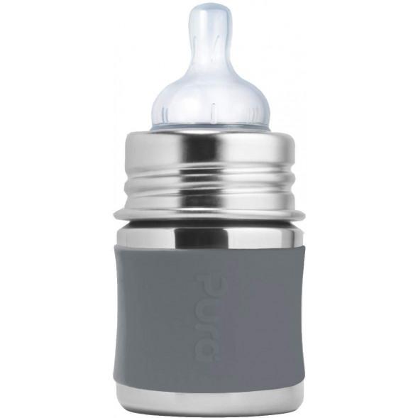 """Biberon évolutif en inox à tétine débit lent (0-12 mois) """"Gris"""" (150 ml)"""