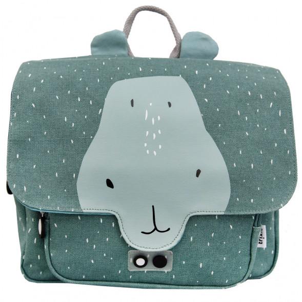 """Cartable enfant en coton hydrofuge """"Mr Hippo"""" (29 cm)"""