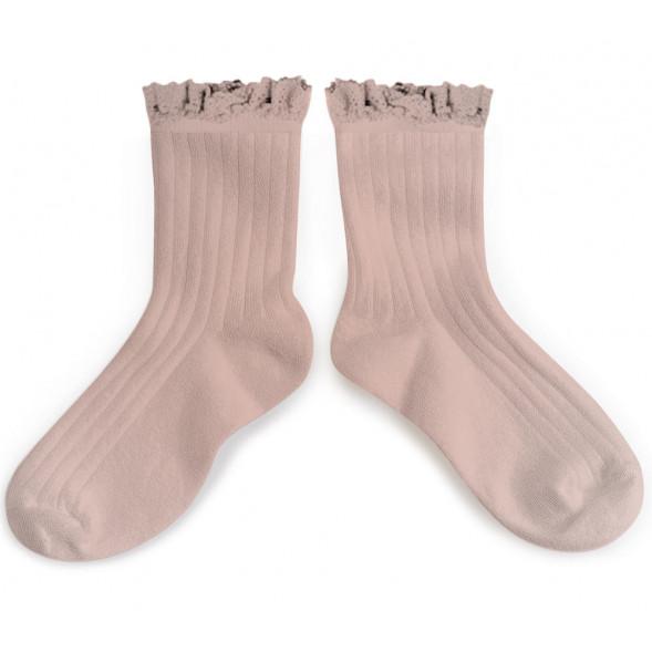 """Chaussettes courtes en coton égyptien avec dentelle Lili """"Vieux Rose"""""""