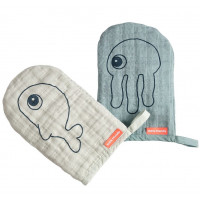 "Gants de toilette bébé en mousseline de coton Sea Friends ""Bleu"" (x2)"