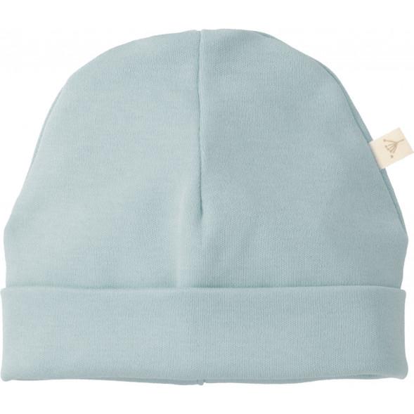 """Bonnet naissance en coton bio """"Bleu poudré"""" (0-3 mois)"""